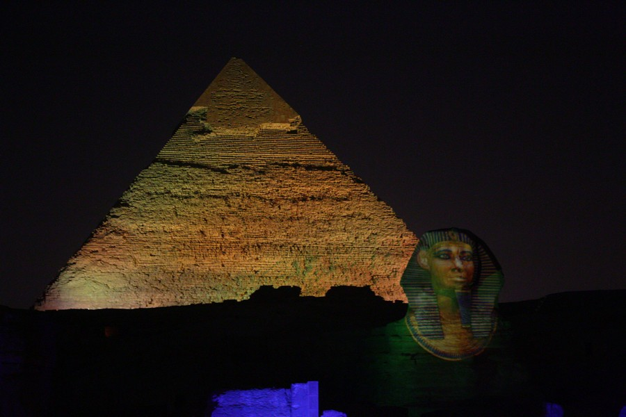 Khafre pyramid and the Sphinx at night